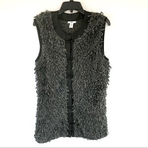 Bar III Fuzzy Wool Blend Leather Trim Gray Vest